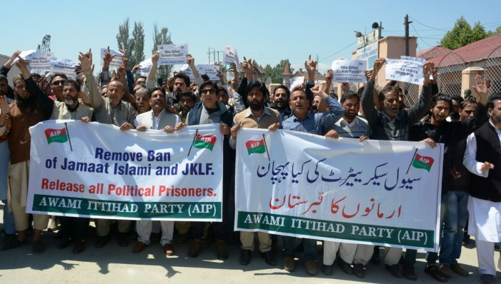 Er Rasheed leads protest against government in Srinagar