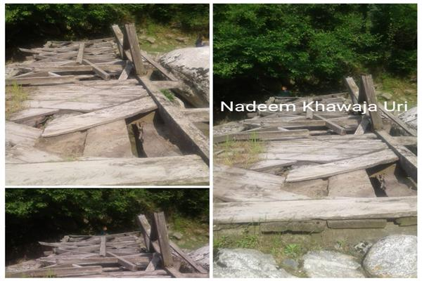 Lachipora Uri residents appeal authorities to repair damaged wooden bridge