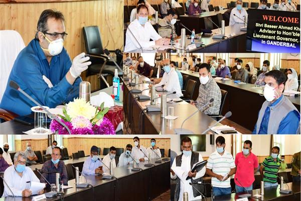 Advisor Baseer Khan visits Ganderbal, meets several delegations