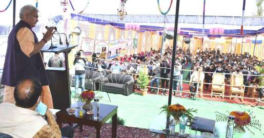 Lt Governor hands-over Paddy thresher; distributes Kisan Credit Cards, Sports Kits, sanction letters, financial assistance to the beneficiaries at Ashthal, Kulgam