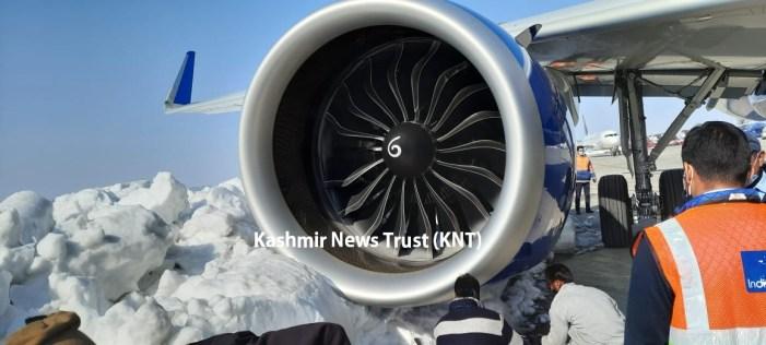 Indigo plane comes close to snow mound at Srinagar airport, passengers deboarded