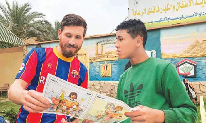 Messi lookalike thrills football-loving orphans in Egypt