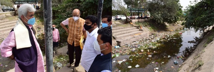 Lt Governor visits Ranbir Canal, Road widening sites on Jammu-Akhnoor road