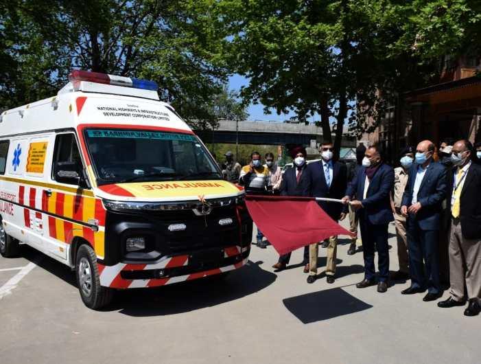 Div Com flags off two NHIDCL ambulances in Srinagar