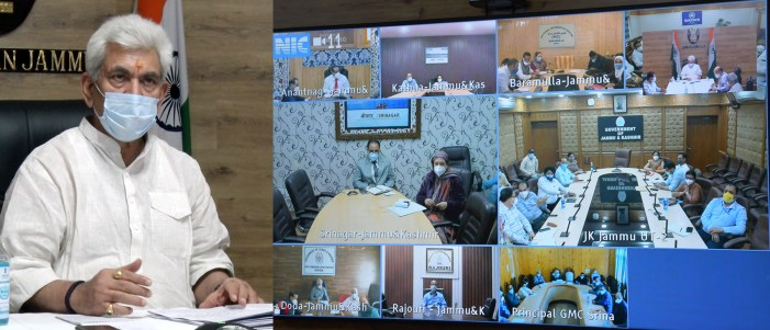 Lt Governor chairs meeting on Covid-19 situation with Senior Doctors from across J&K