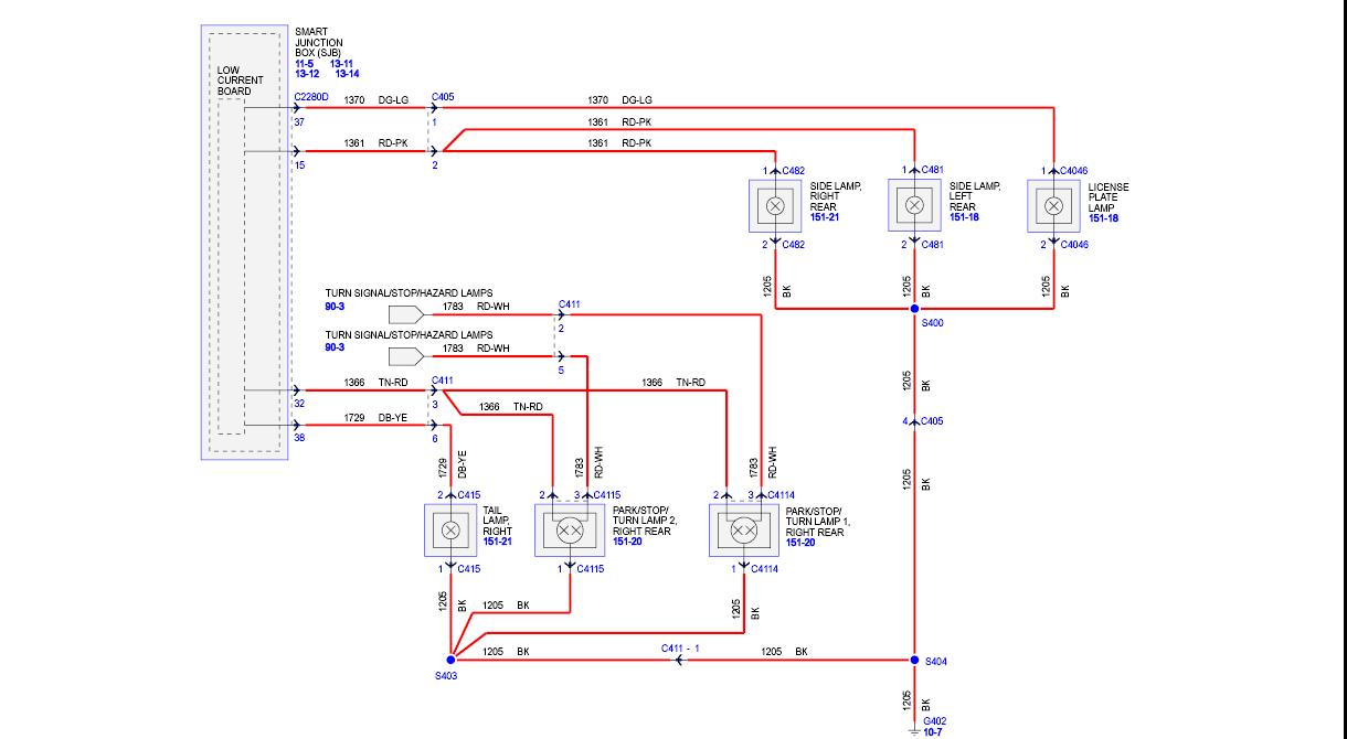 hight resolution of ford tail light wiring diagram