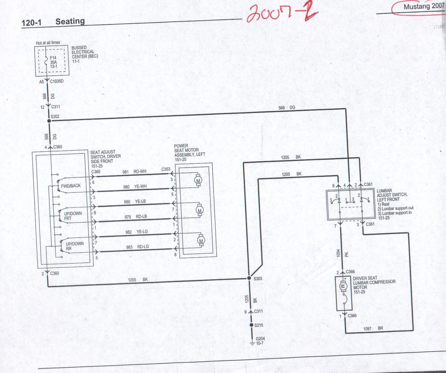 e38 seat wiring diagram two doorbell power and heated info 05 up the mustang source