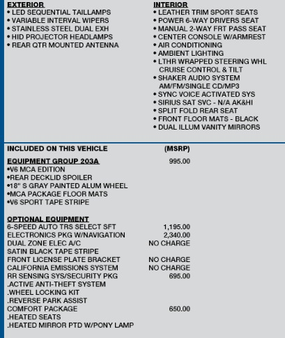 2013 Mustang Order Guides (including GT500) & Price Lists