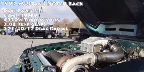 small resolution of what you see before you is a 1992 ford mustang foxbody notchback with a 331 v8 and a wait for it an 88mm turbo so you know it s fast as hell