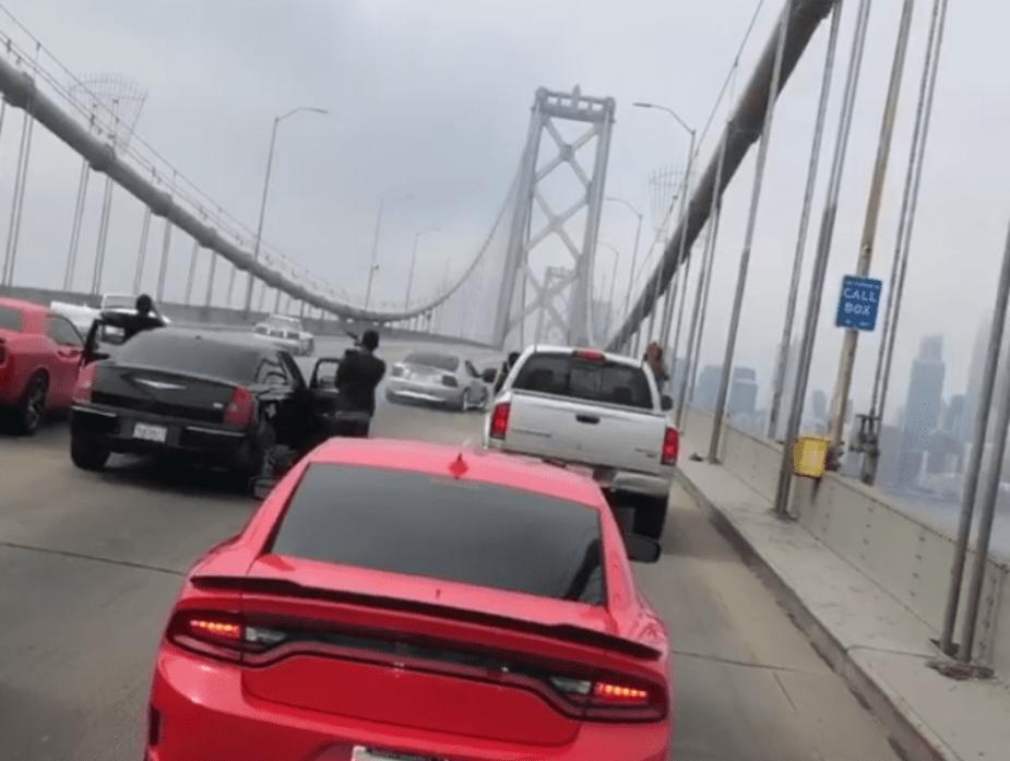 Mustangs perform donuts on San Francisco Bay Bridge