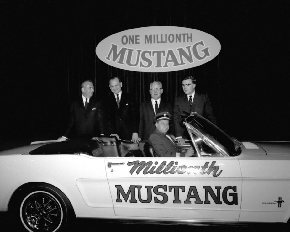 Iacocca with 1 Millionth Mustang in 1966