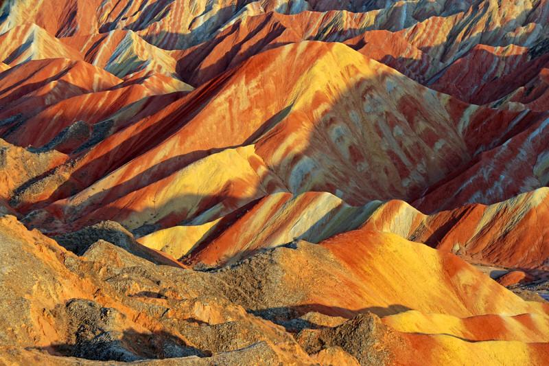 Colorful layers of Zhangye Danxia National Geological Park, Gansu Province, China.