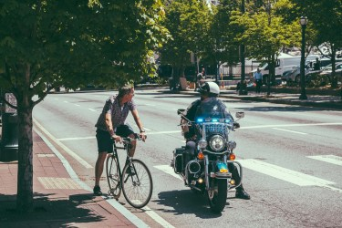 The first thing I saw all weekend was a bike cop pulling over a bicyclist for running a red light. Solid start!