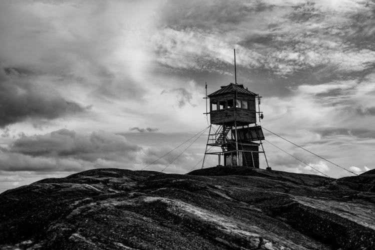 Black and White photo of a firetower
