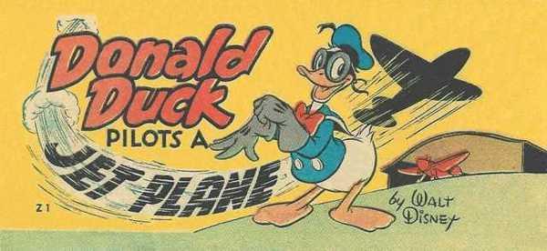 Donald Duck flies a plane