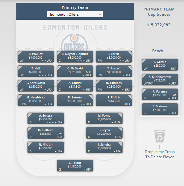 oilers depth chart