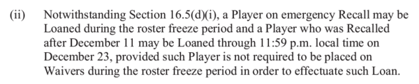 CBA 16.5 (d)(ii) Holiday Roster Freeze Loans