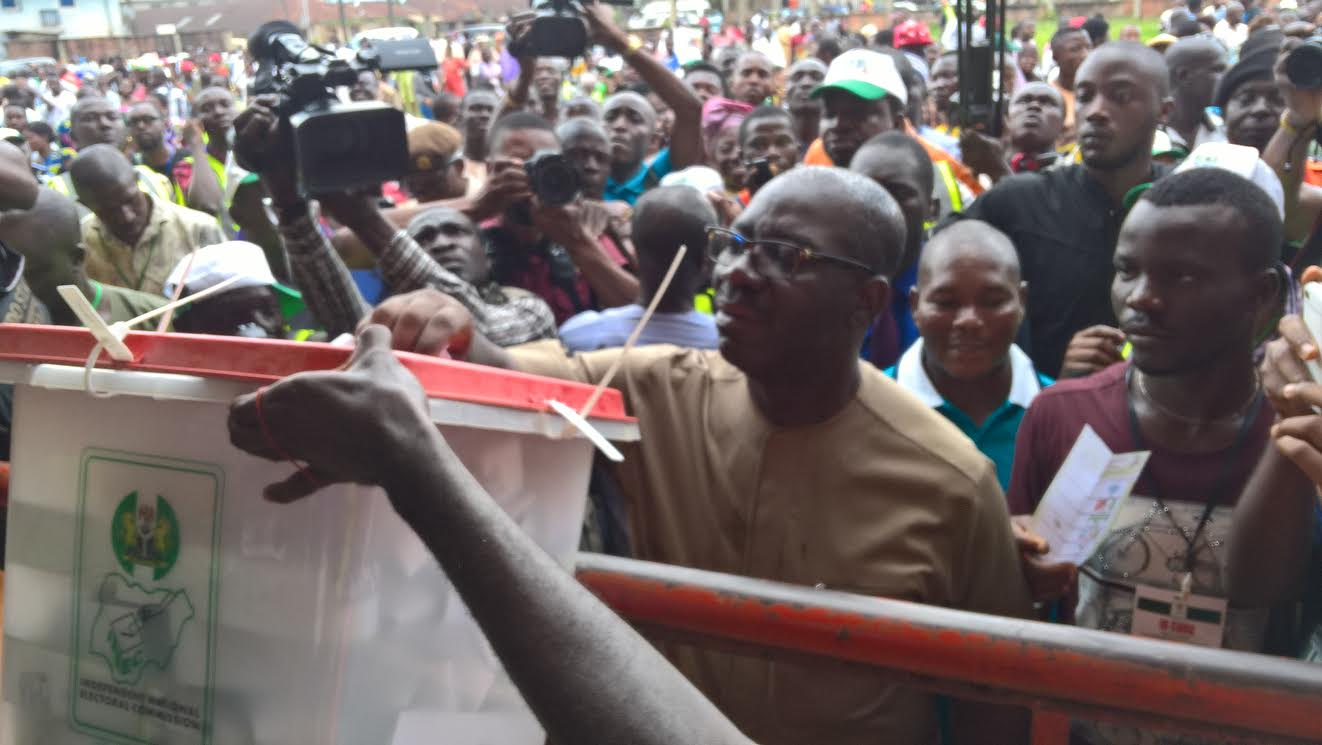 Image result for Obaseki votes, hails turnout