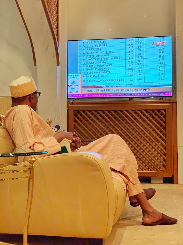 Image result for How Buhari reacted when INEC declared him winner