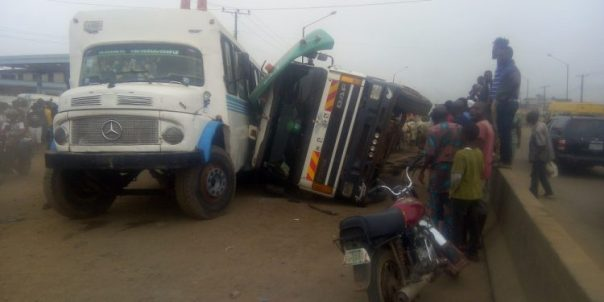 BREAKING: Many cows dead as lorry, passenger bus collide in Lagos