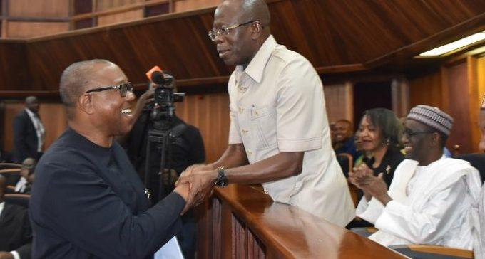 PHOTOS: Oshiomole, Obi exchange greetings as Court hears Atiku's appeal against Buhari