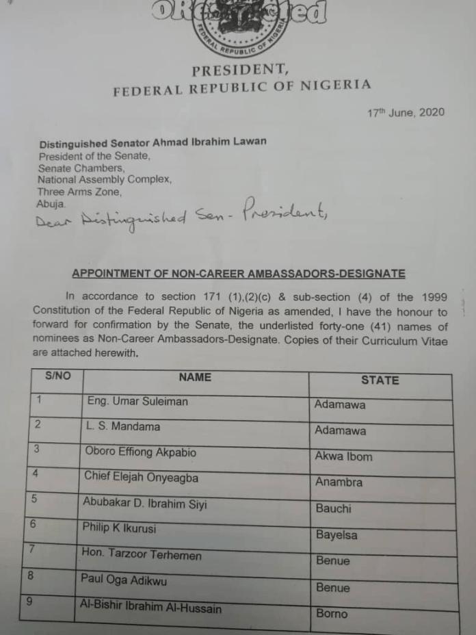 Full list of 41 Ambassadors-designate