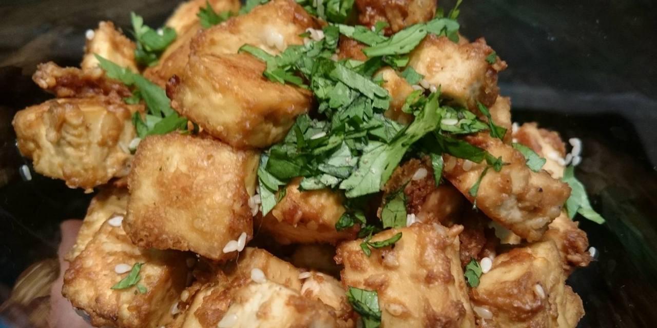 Spicy peanut tofu chunks