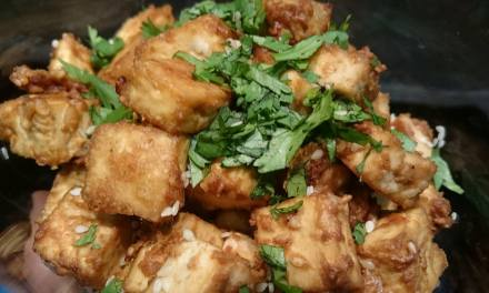 Spicy peanut tofu chunks