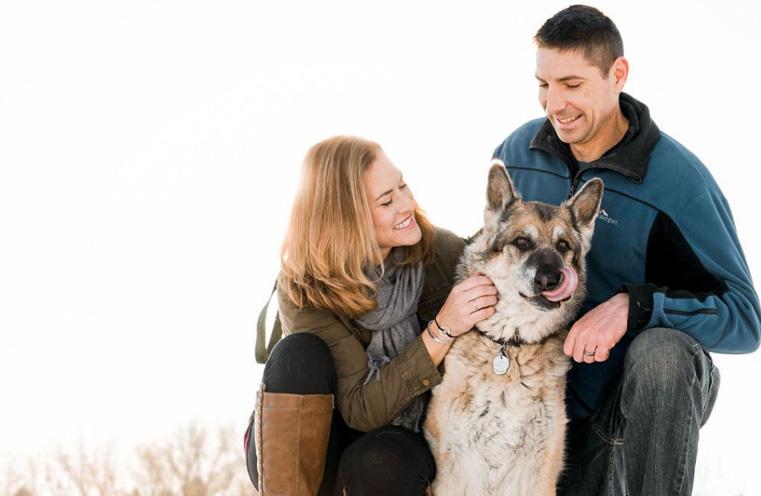 German shepherd with family