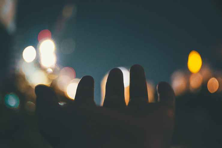 bokeh photography of hand