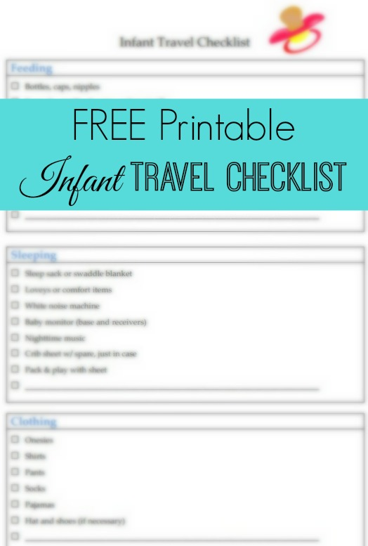 Free Printable Infant Travel Checklist