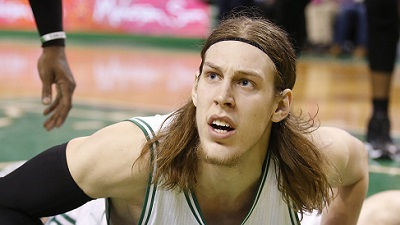 Dec 17, 2014; Boston, MA, USA; Boston Celtics center Kelly Olynyk (41) reacts after a play against the Orlando Magic in the second half at TD Garden. The Celtics defeated Orlando 109-92. Mandatory Credit: David Butler II-USA TODAY Sports