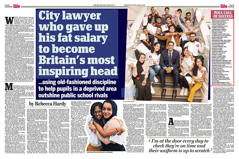 Britains Most Inspiring Head - Newham Collegiate Sixth Form Centre In The Daily Mail