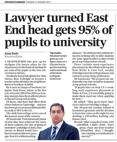 95% Of Pupils Get Into Russell Group University - Newham Collegiate Sixth Form Centre (The NCS) In The Evening Standard