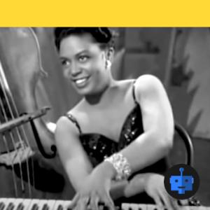 Hazel Scott smiles and plays the piano + blue robot emblem, yellow stripe