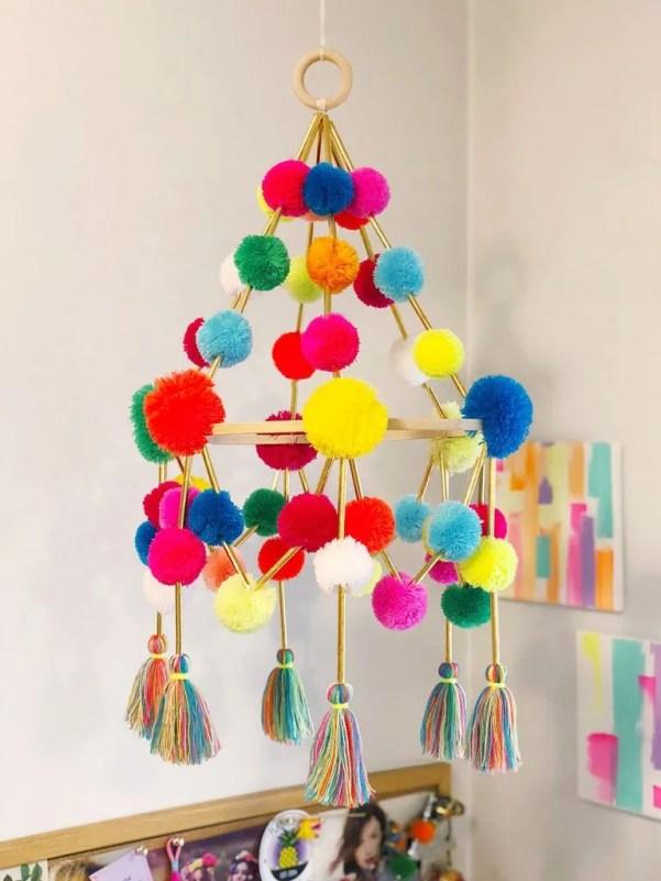 diy pom pom pajaki chandelier the neon tea party