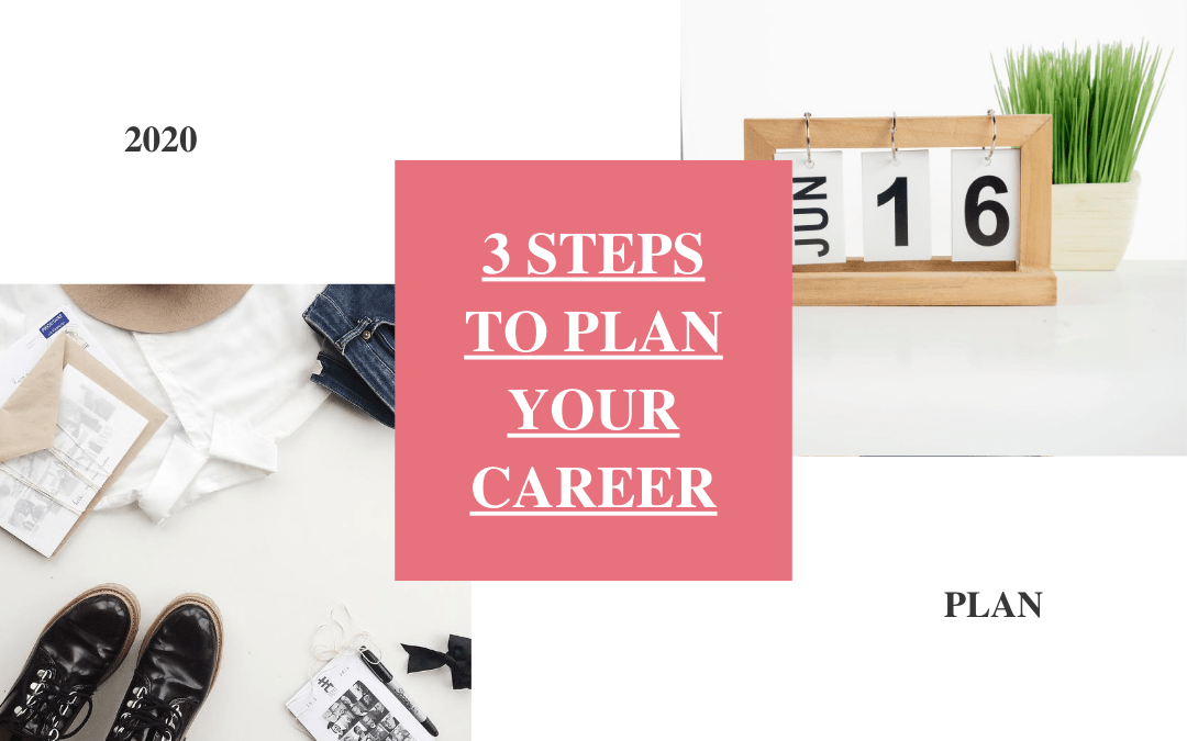 pink box with text 3 steps to plan your career upper right box with date jun 16 bottom left box with shoes a hat and paper