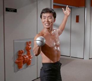 Lt. Sulu fencing.
