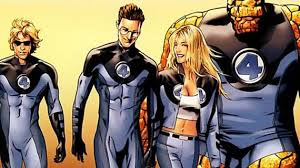 Drawn image of the Fantastic Four: from left to right are the characters Mr. Fantastic, Johnny Storm, Sue Storm and The Thing