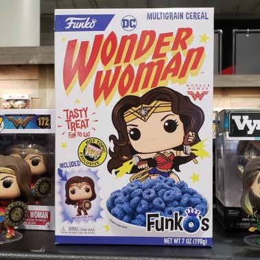 Wonder Woman Funko Cereal? I'm a.) not sure this is an actual item, and b.) may have just hallucinated it.
