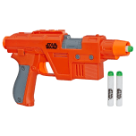 STAR WARS NERF POE DAMERON BLASTER (HASBRO/Ages 6 years & up/Approx. Retail Price: $24.99/Available: Fall 2019) Imagine battling the First Order like POE DAMERON with this STAR WARS NERF POE DAMERON BLASTER that fires glow-in-the-dark darts! The STAR WARS NERF POE DAMERON BLASTER features GlowStrike technology that charges the darts to make them glow when fired. Load one dart into the front of this single-fire, trigger-activated blaster, pull the handle back to prime it, then press the trigger to unleash the glowing dart, hear laser blast sound effects and see light effects! Illuminate STAR WARS battles with the STAR WARS NERF POE DAMERON BLASTER! Includes blaster and 3 Elite GlowStrike darts. Requires 1 AA battery, demo battery included. Available at most major retailers.