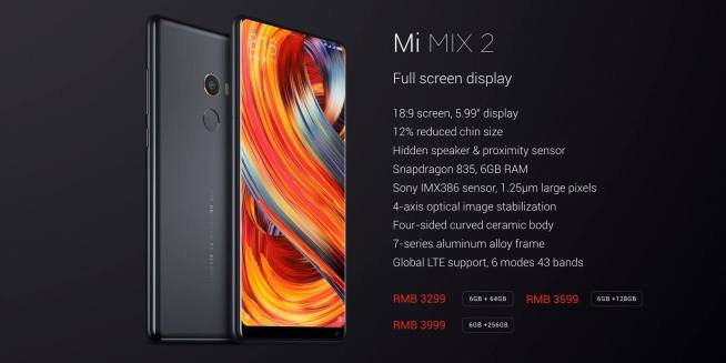 Xiaomi Mi MIX 2 specs pricing The nerd web price