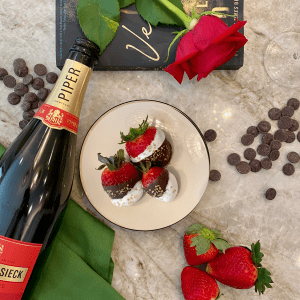 Champagne Soaked Chocolate Covered Strawberries