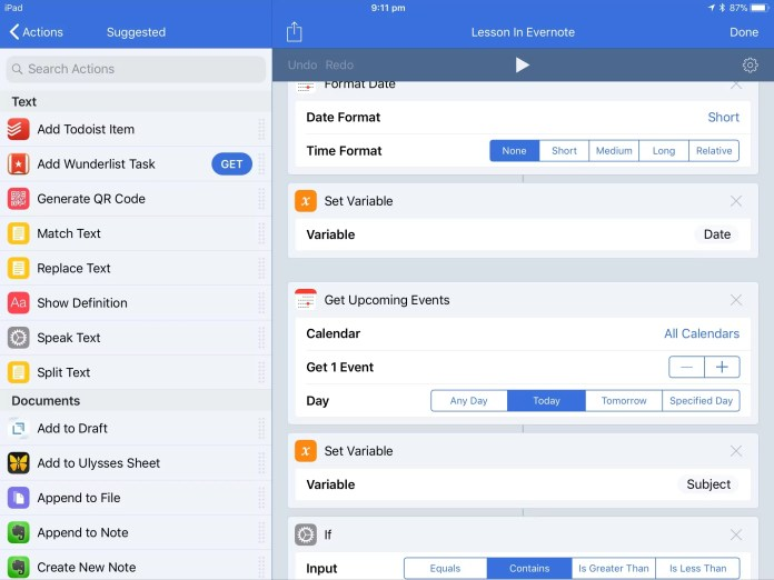 Automating school notes with Workflow