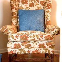 How To Make Slipcover For Wingback Chair Front Porch Table And Chairs Thrift Store