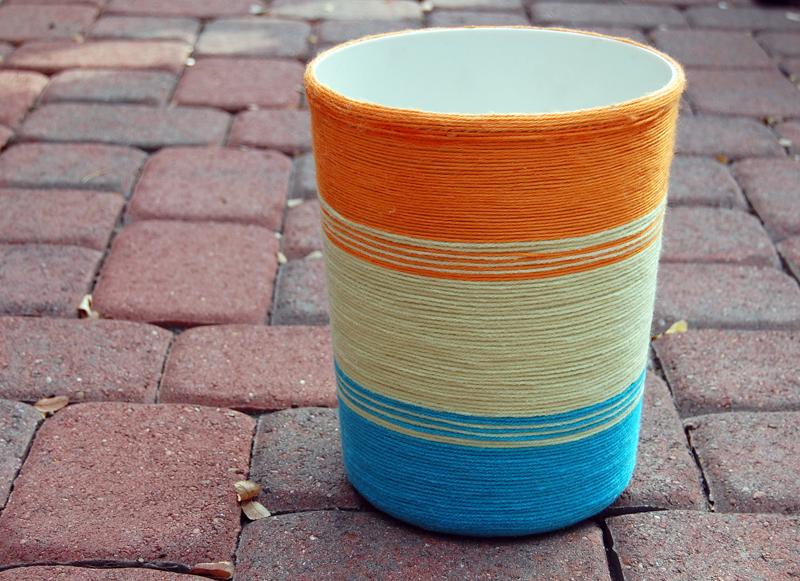Yarn Wrapped Trash Can DIY