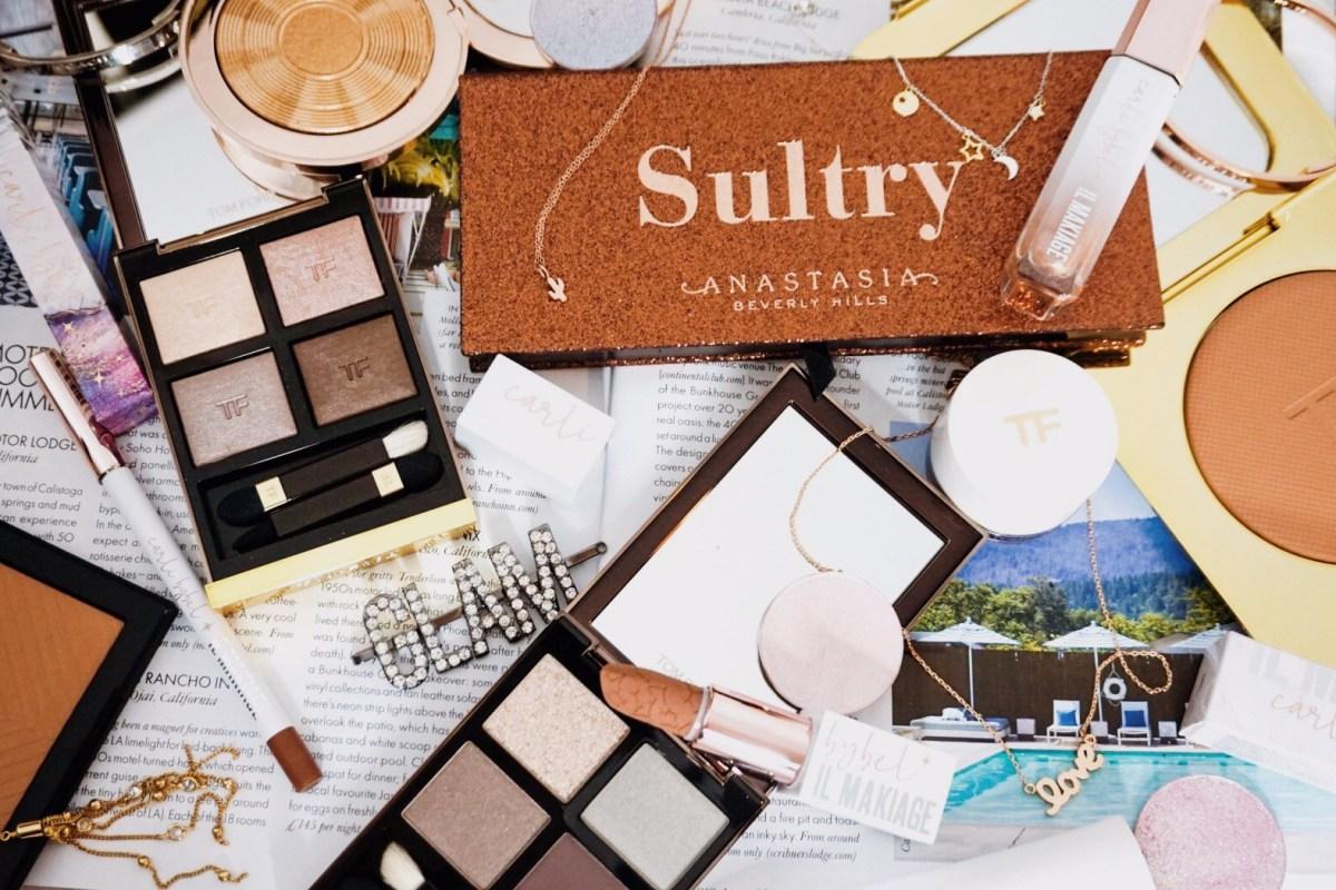 Yearlong Low Buy | Luxury Makeup Flatlay | Anastasia Beverly Hills, Estee Lauder, Il Makiage, JD Glow, Nars, Shiseido, Tom Ford
