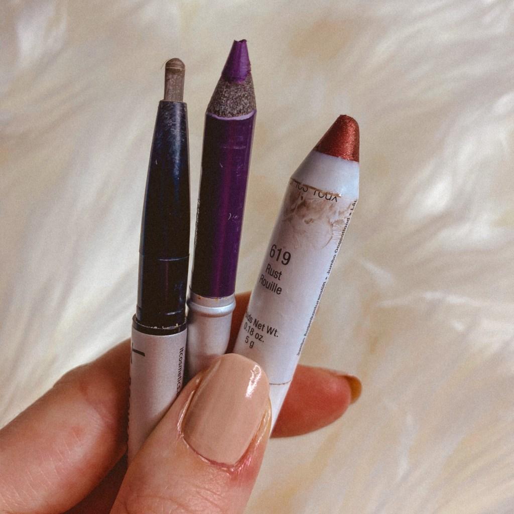 20 in 2020 Project Pan Finale | Pop Kajal Pencil in Inkey Purple, It Cosmetics Brow Pencil, and NYX Jumbo Pencil in Rust