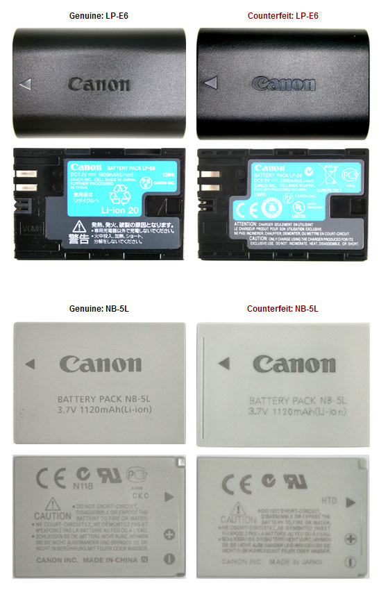 Canon How To Identify Counterfeit Batteries And Chargers