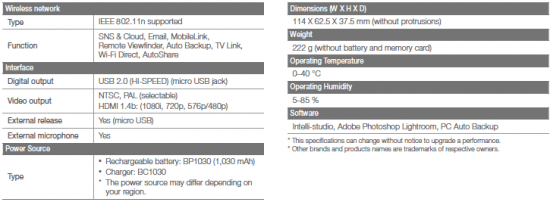 Samsung NX1100 Image and Full Specification Leaked « NEW